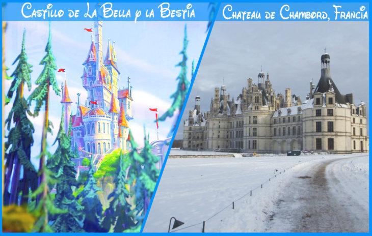 castillo de la bella y la bestiareal y de disney