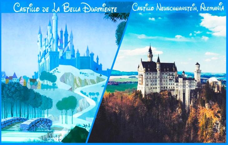 castillo de la bella durmiente real y de disney