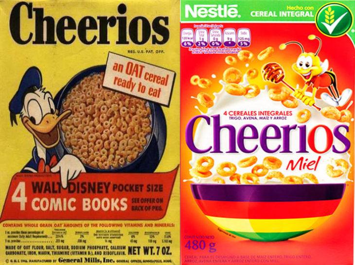 cheerios donald pato empaque vintage personajes de la caja antes y después