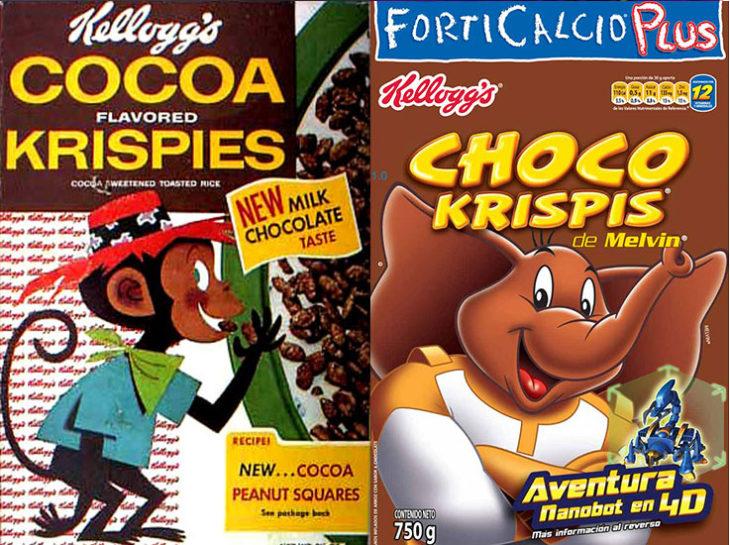 melvin elefante empaque vintage personajes de la caja antes y después