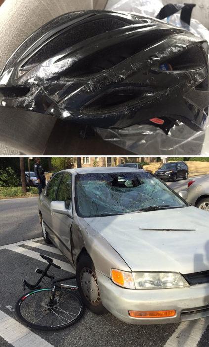 rastro de accidente en el que una bicicleta se estrelló contra un automovil