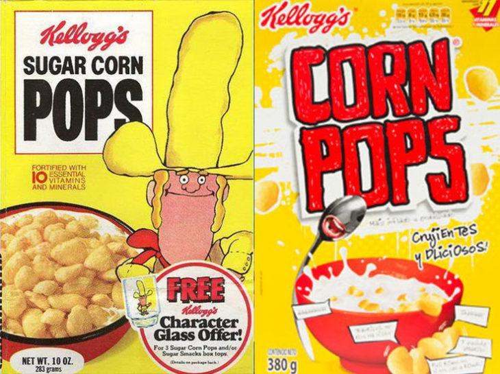 corn pops vaquero empaque vintage personajes de la caja antes y después