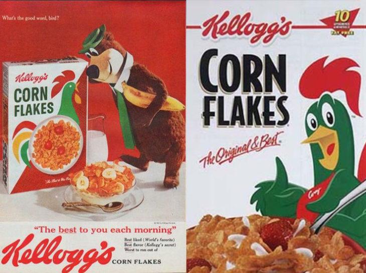 gallo corn flakes empaque vintage personajes de la caja antes y después