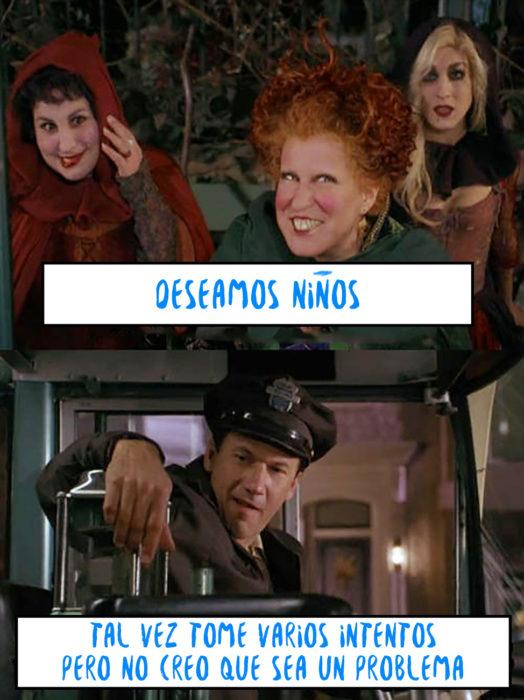 escena de abracadabra en la que las brujas le dicen a un conductor que necesitan niños