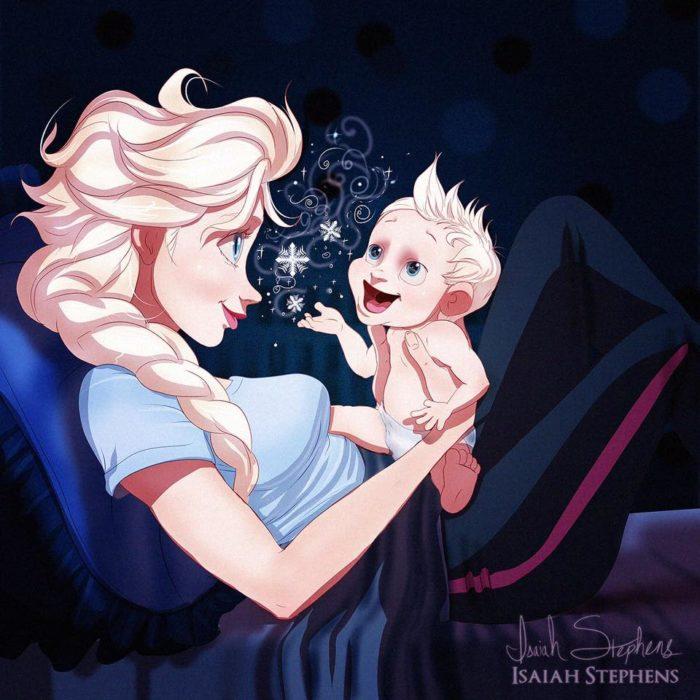 elsa de frozen con un bebé