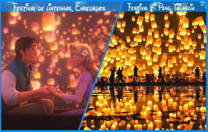 festival de linternas de verdad y de disney