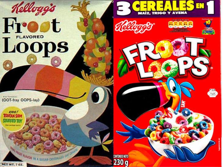 frootloops empaque vintage personajes de la caja antes y después