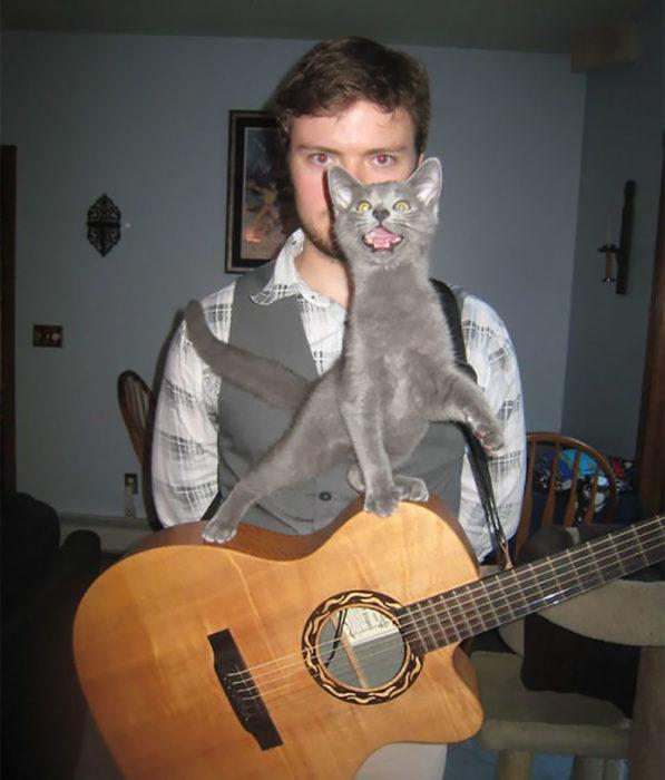 gato sobre una guitarra que está cargando un chico