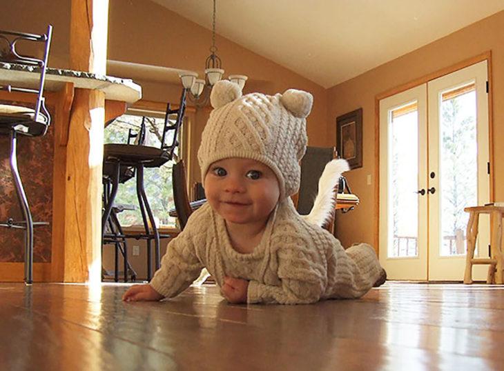 bebé gateando parece tener la cola de un gato