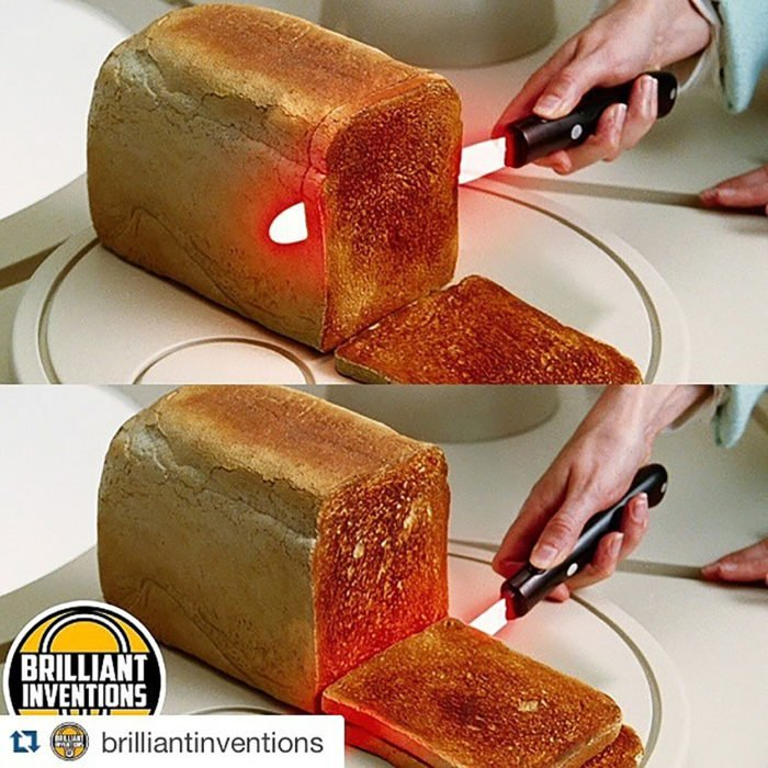 cuchillo caliente rebanar mantequilla