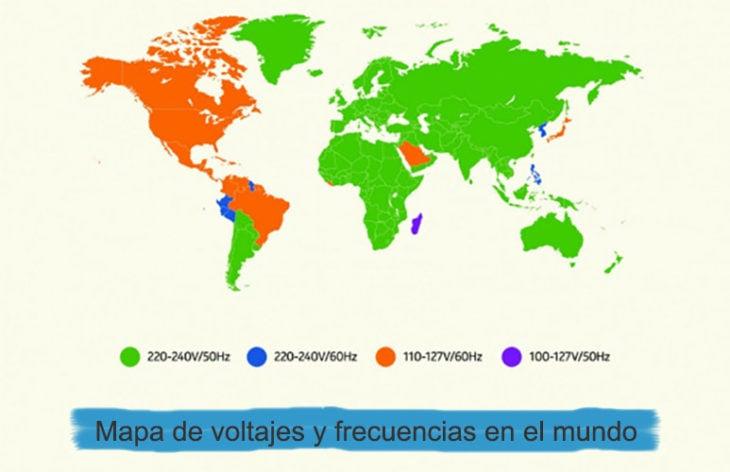 mapa de voltajes y frecuencias mundo