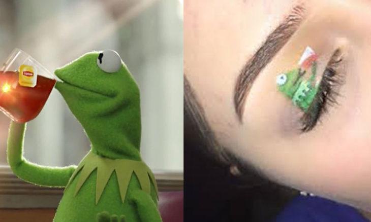 rana rene párpado maquillaje meme