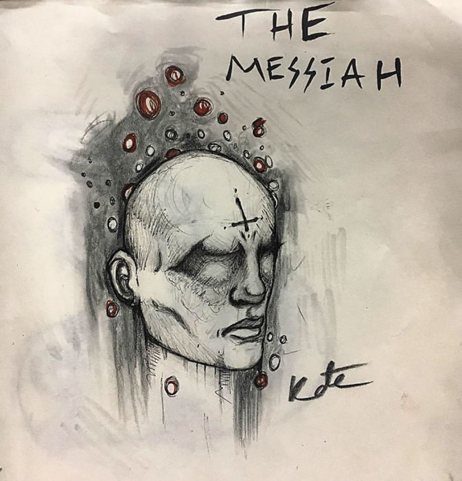 dibujo d euna cabeza de hombre con una cruz en la frente