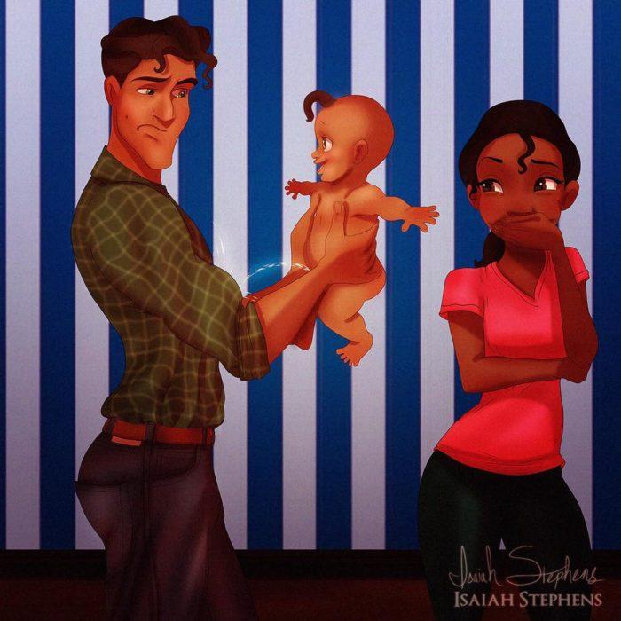 naveen cargando a un bebé mientras tiana sonríe
