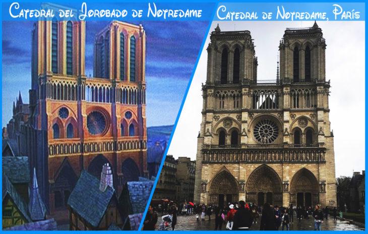 catedral de notredame real y de disney