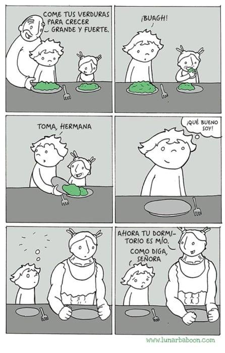 comic sobre una niña que se hace grande por comer verduras