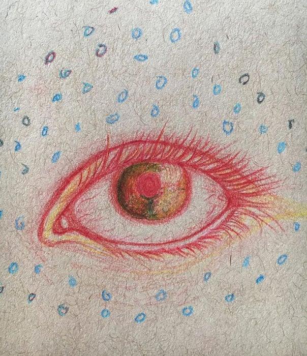 ojo rojo con círculos azules a su alrededor