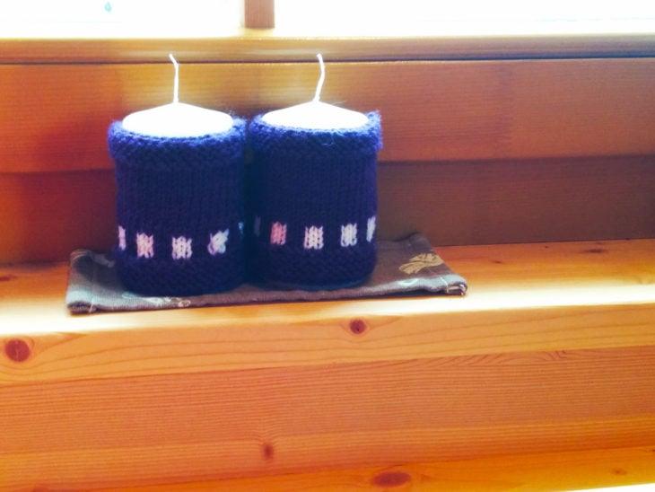 porta velas tejidos