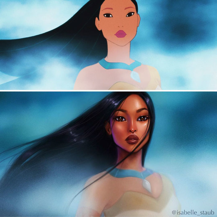 pocahontas normal e ilustración recreada