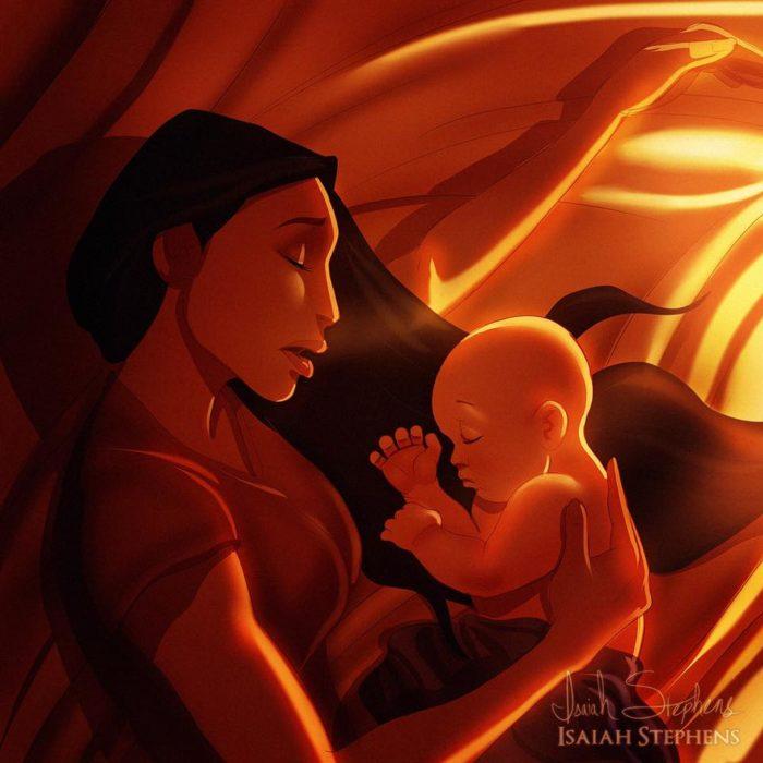 pocahontas de s disney cargando a un bebé