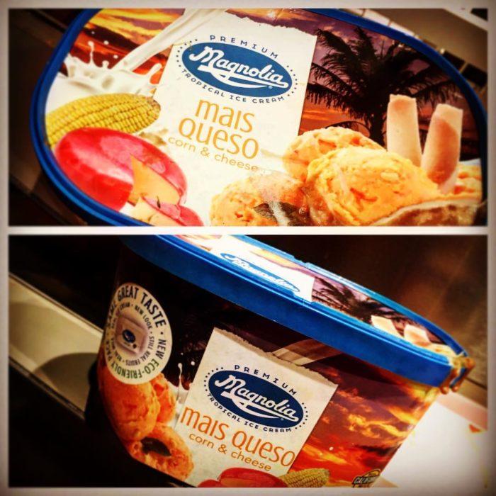 helado sabor queso y maíz