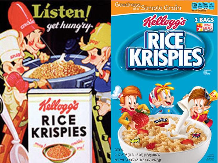 rice krispies empaque vintage personajes de la caja antes y después