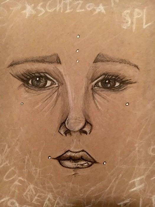 dibujo de ojos cejas nariz y boca