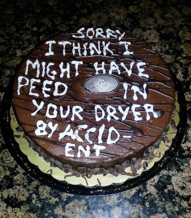pastel que dice siento, creo que hice pipí por accidente en tu secadora