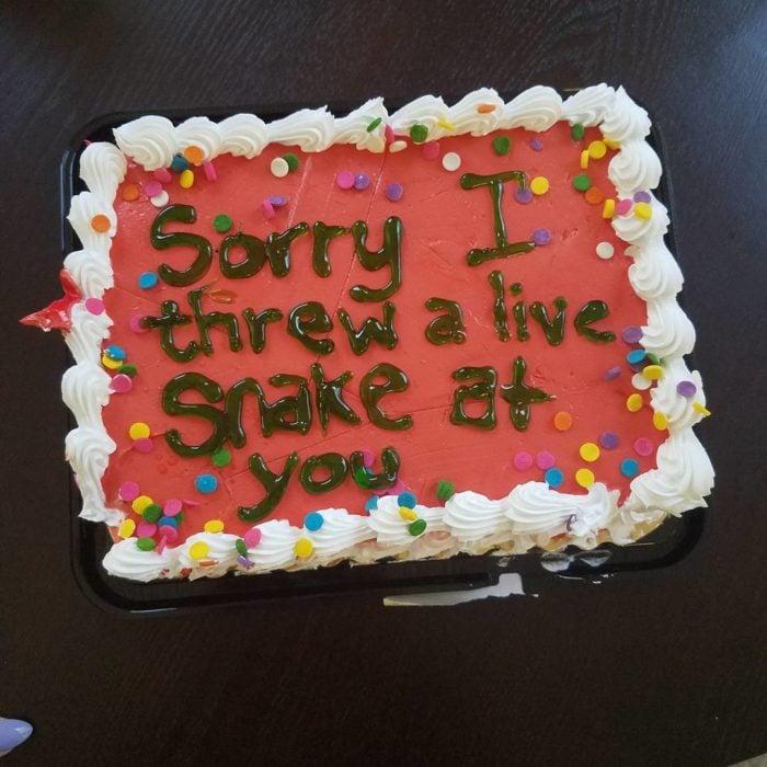 pastel que dicePerdón porque te aventé una serpiente viva