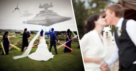 Cover Divertidas fotografías de los novios en su boda