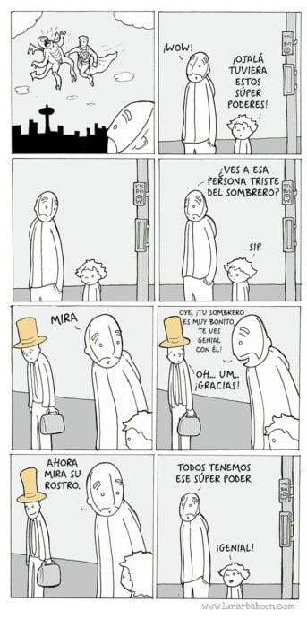 comic sobre un niño que quiere tener superpoderes y su papá le dice que todos tenemos superpoderes