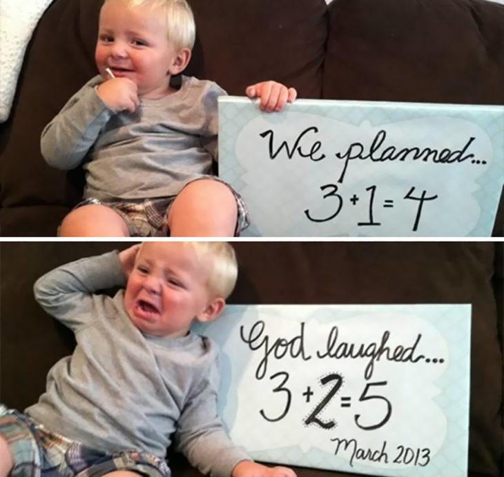 niño sonriendo y luego llorando cuando le anuncian que tendrá dos hermano