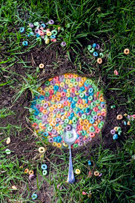 cereal servido en la tierra