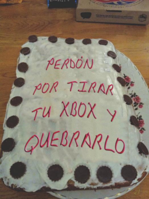 pastel de perdón por tirar un xbox