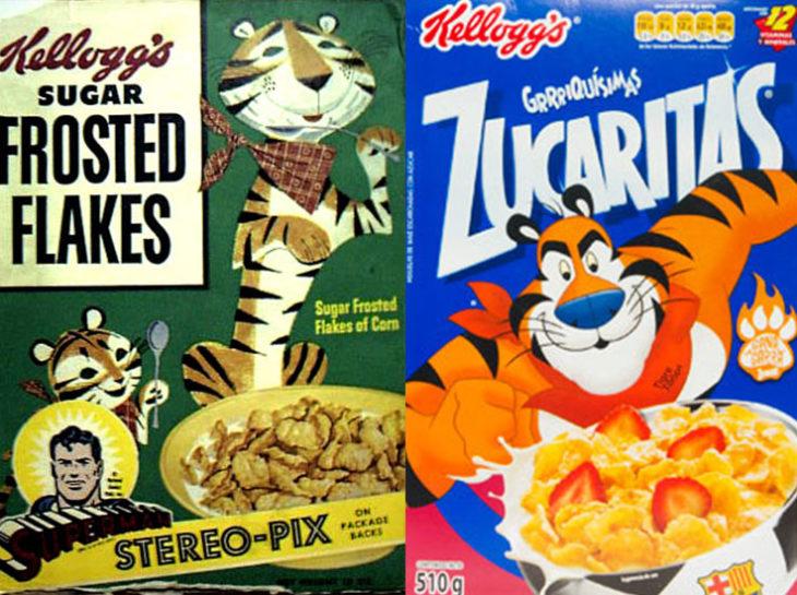 Tigre Toño kellogs zucaritas empaque vintage personajes de la caja antes y después