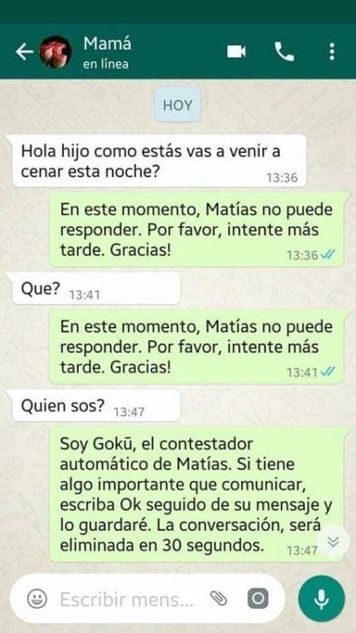 Whatsapp hijo troleó a su mamá - Matías no puede responder