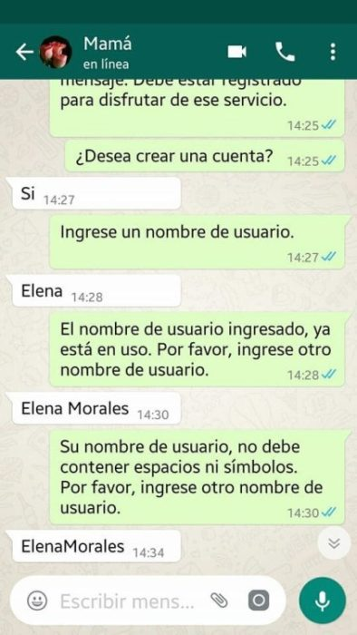 Whatsapp hijo troleó a su mamá - ingrese un nombre de usuario