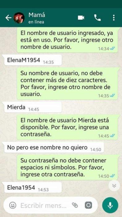 Whatsapp hijo troleó a su mamá - su nombre de usuario no fue registrado