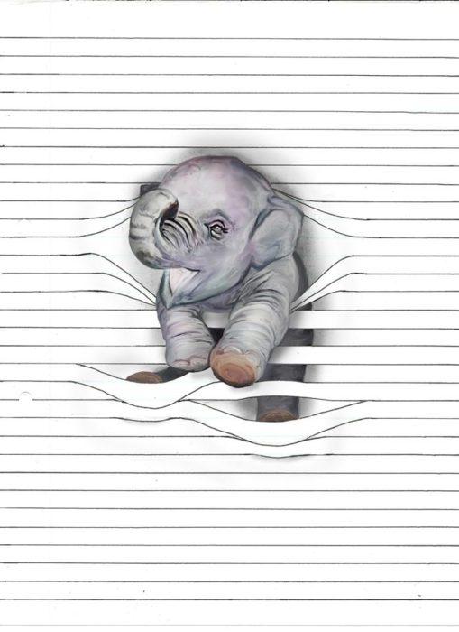dibuje elefante atorado en lineas de libreta