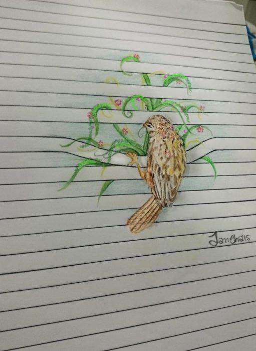 dibujo pájaro en lineas de libreta