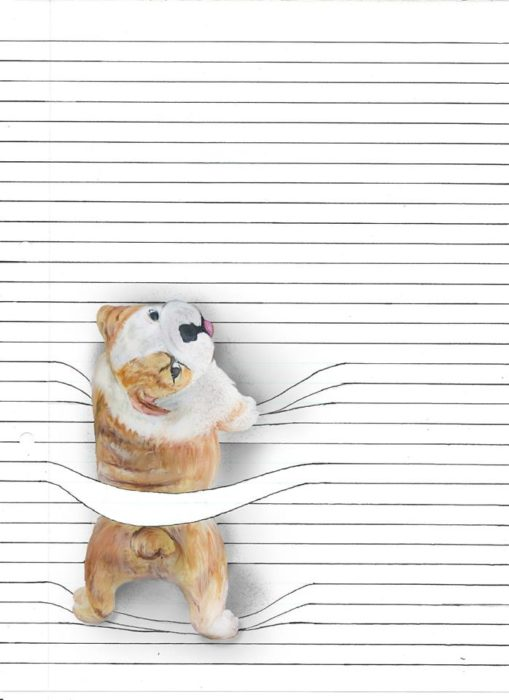 dibujo perro viendo hacia arriba en libreta