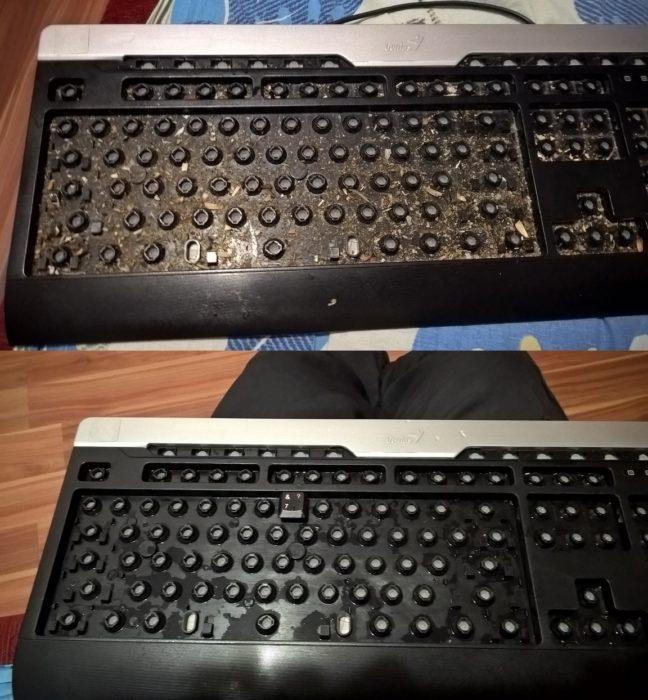 Teclado sucio y teclado limpio
