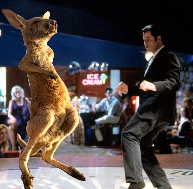 Batalla Photoshop canguro - john travolta bailando