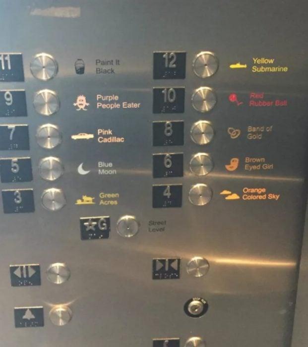 nombres pisos elevador