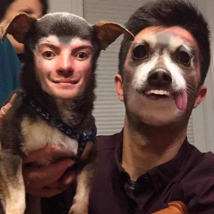 hombre sediento y perro feliz