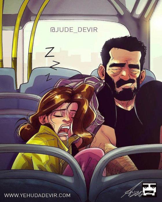 Ilustraciones Yehuda Adi Devir - esposa dormida en camión