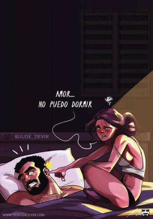 Ilustraciones Yehuda Adi Devir - esposa no puede dormir