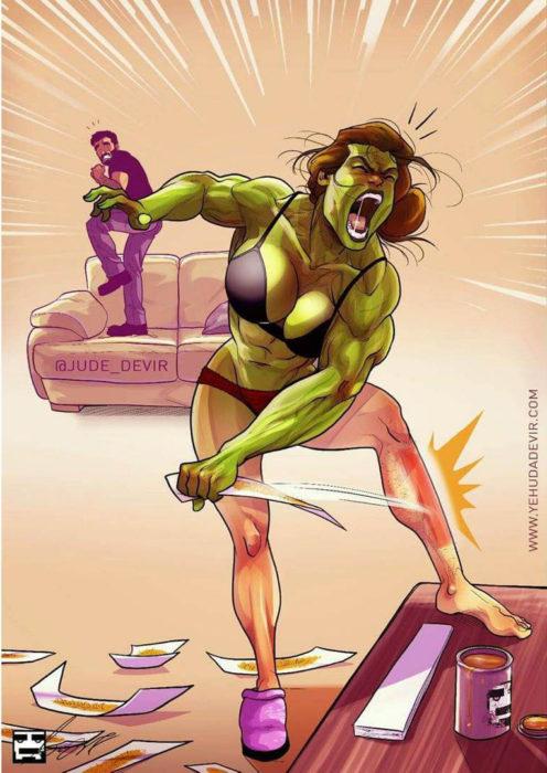 Ilustraciones Yehuda Adi Devir - esposa depilándose