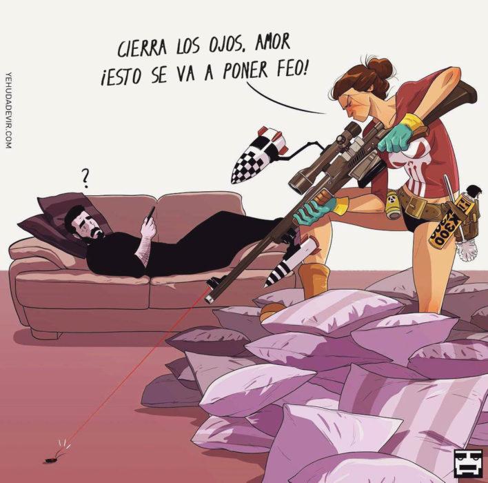 Ilustraciones Yehuda Adi Devir - esposa matando una cucaracha