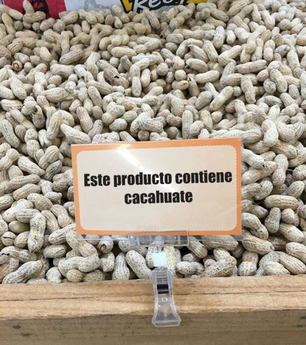 letrero producto cacahuate